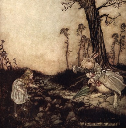 Arthur Rackham illustration from Alice's Adventures in Wonderland.